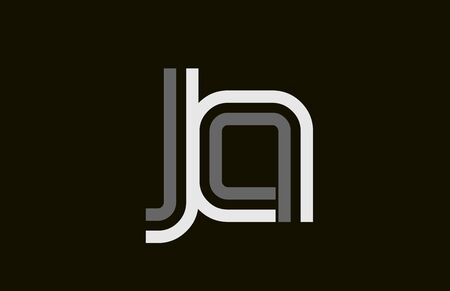 black and white line JA J A  letter  alphabet combination for icon design. For a company or business.