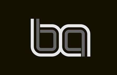 black and white line BA B A letter  alphabet combination for icon design. For a company or business. Ilustração