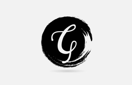 G hand written letter alphabet on grunge circle in black and white for icon design. For a company or business. 일러스트