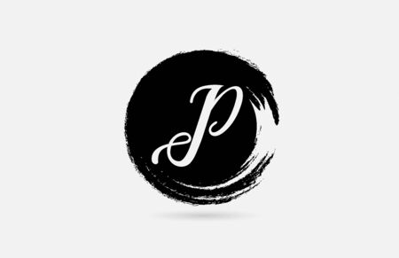P hand written letter alphabet on grunge circle in black and white for icon design. For a company or business.