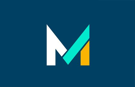 blue white yellow green M letter  alphabet for company icon design. Suitable for a corporate or business