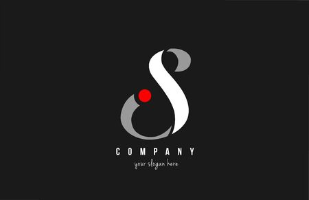 S red dot alphabet letter in black and white for  icon design. Suitable for a company or business  イラスト・ベクター素材