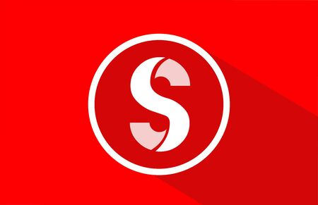 long shadow S red letter alphabet for company icon design. Suitable for a corporate or business