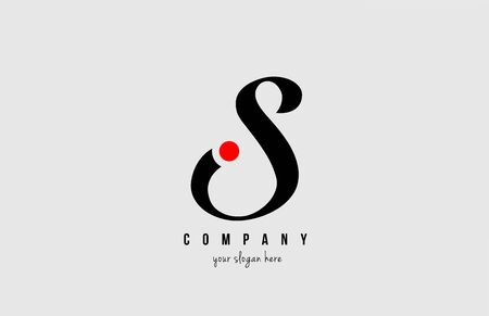 S black and white alphabet letter with red circle for company  icon design. Suitable for a company or business  イラスト・ベクター素材
