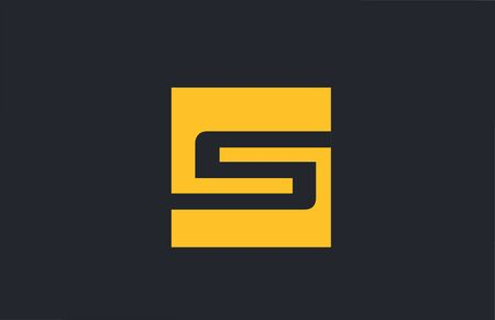 yellow square simple letter S blue alphabet for company icon design. Suitable for a corporate or business design  イラスト・ベクター素材