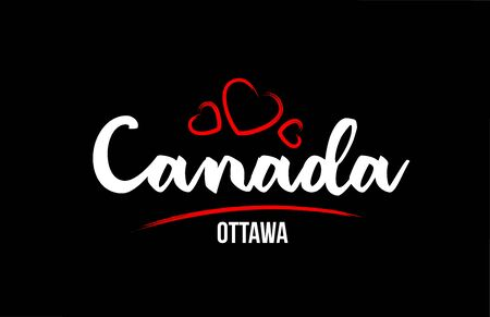 Canada country on black background with red love heart and its capital Ottawa creative typography text logo design