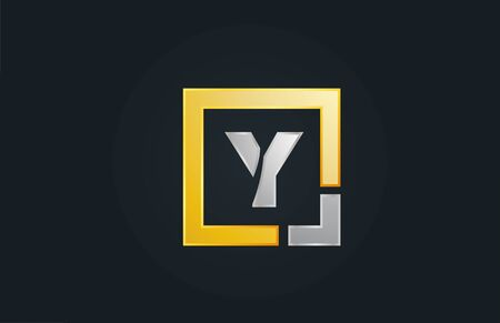 gold silver metal letter Y alphabet logo design icon for business. Suitable as a logotype