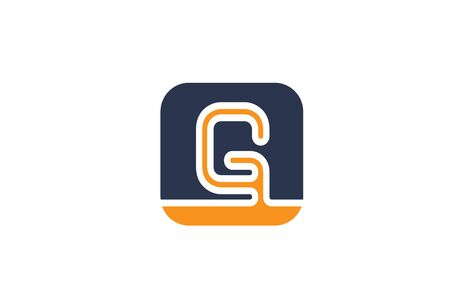 orange blue letter G alphabet logo design icon for company or business. Suitable as a logotype 일러스트