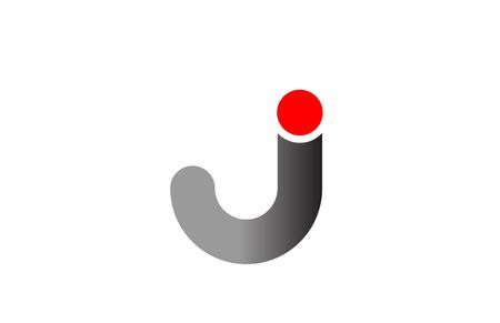 letter J logo alphabet design icon for business grey red. Suitable for a company logotype