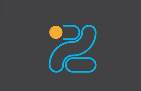 letter z logo line alphabet icon in blue orange for business with dot. Suitable for a company design