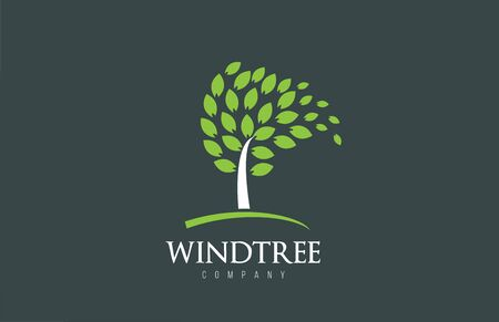 Tree logo design with leafs icon template elements company business. Wind blowing through leafs. Nature or environment issues or ecological concept