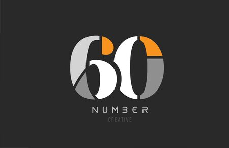 number 60 sixty for company logo icon design in grey orange and white colors. Usable for a logotype or business