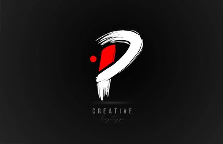 brush stroke letter P logo alphabet icon design template in white and red for business. Suitable for a company logotype design Ilustração
