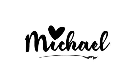 Michael name text word with love heart hand written for logo typography design template. Can be used for a business logotype