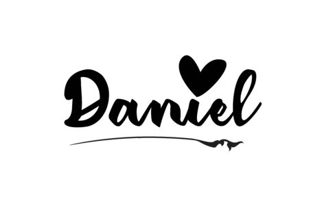 Daniel name text word with love heart hand written for logo typography design template. Can be used for a business logotype