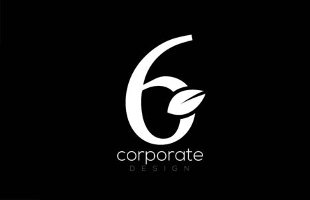 black and white number 6 six leaf logo icon design for company and business. Suitable for a logotype Ilustração