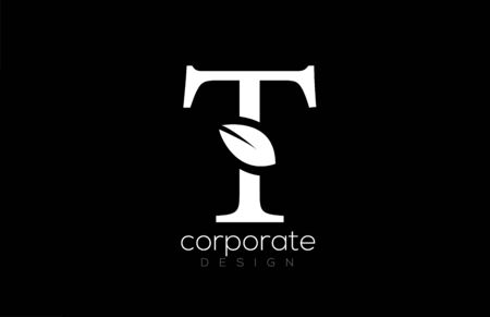black and white T letter alphabet leaf logo icon design for company and business. Suitable for a logotype