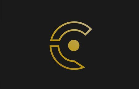 gold golden line C alphabet letter logo design with circle icon for company and business. Suitable for a luxury or metallic logotype Logo