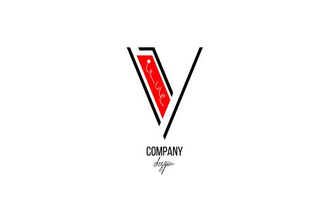 V letter logo alphabet with vintage floral design icon in black white red for company and business. Suitable for catchy logotype