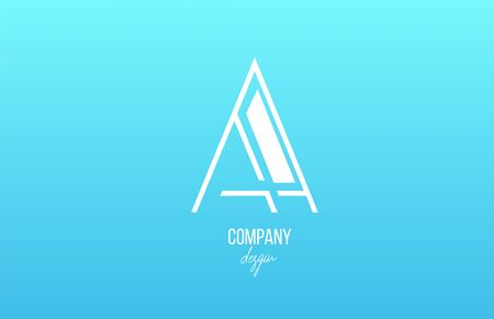 blue white A alphabet letter logo icon with line design for business and company. Suitable for stylish logotype