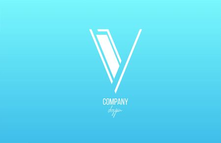 blue white V alphabet letter logo icon with line design for business and company. Suitable for stylish logotype