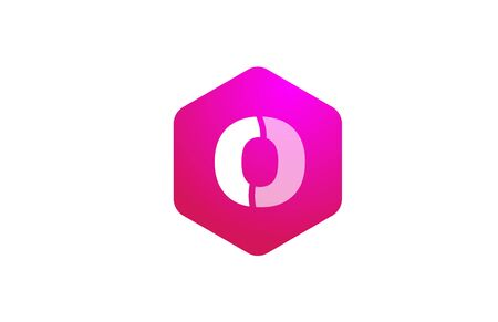 pink white polygon O alphabet letter logo icon with modern design for business and company. Suitable for stylish logotype 向量圖像