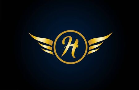 gold golden H wing wings alphabet letter logo icon with classy design for company and business. Suitable for stylish logotype 向量圖像