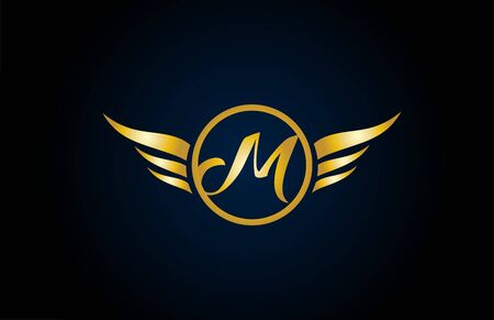 gold golden M wing wings alphabet letter logo icon with classy design for company and business. Suitable for stylish logotype