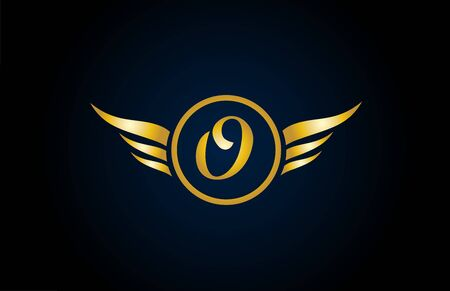gold golden O wing wings alphabet letter logo icon with classy design for company and business. Suitable for stylish logotype Logo