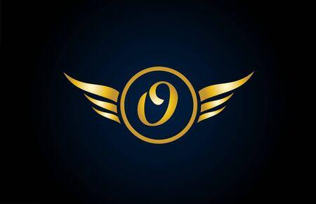 icône du logo de la lettre de l'alphabet des ailes de l'aile d'or d'or avec un design élégant pour l'entreprise et les affaires. Convient pour un logotype élégant Logo