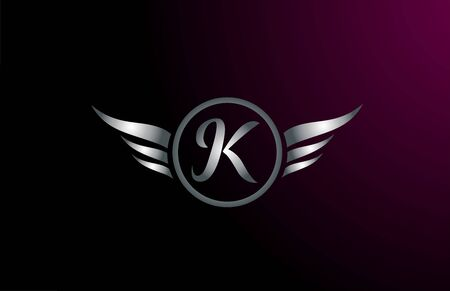 silver grey wings K letter alphabet logo design with metallic icon for business company. Suitable for a catchy logotype