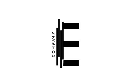 alphabet E black white letter icon design with lines icon for company business.