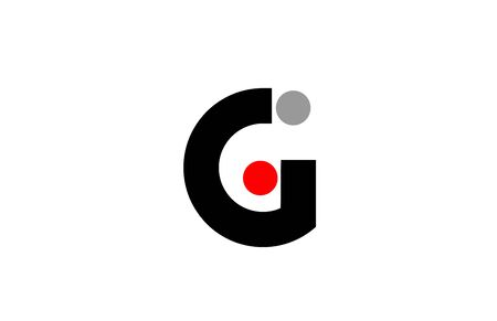 G dot dots letter alphabet icon design in red grey white for company and business.