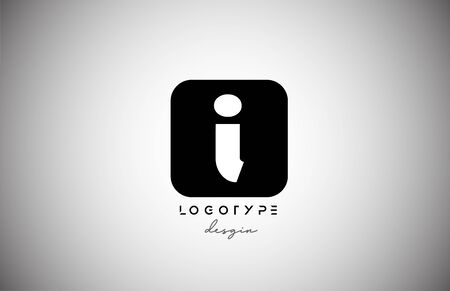 black white I square letter logo alphabet icon for business and company design. Suitable for catchy logotype