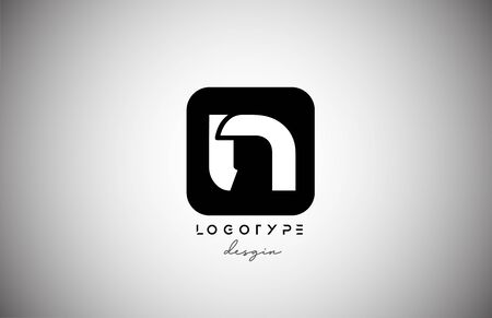 black white N square letter logo alphabet icon for business and company design. Suitable for catchy logotype