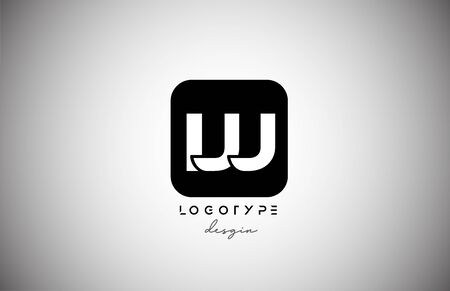 black white W square letter logo alphabet icon for business and company design. Suitable for catchy logotype 向量圖像