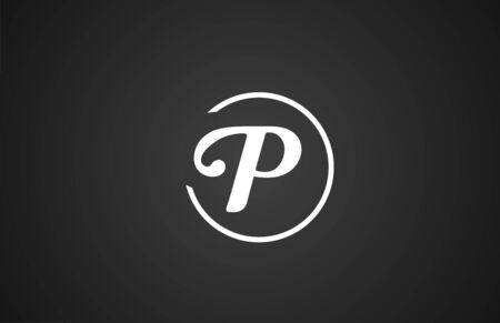 simple black white P letter icon alphabet with circle design for company business.