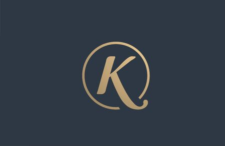 gold golden yellow alphabet letter K icon design for business company.