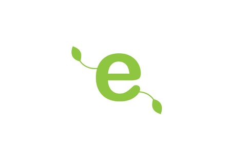 green leaf leafs letter e alphabet design icon for company and business.