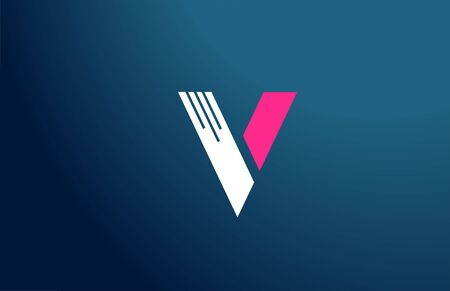 blue white pink alphabet V letter design icon for company and business.