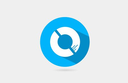 O alphabet letter long shadow blue white icon design for company and business.