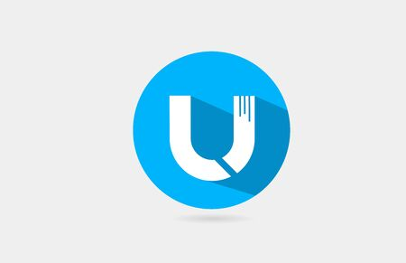 U alphabet letter long shadow blue white icon design for company and business.