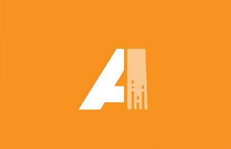 orange white alphabet A letter design icon for company and business. 向量圖像