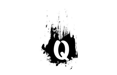 letter Q grunge alphabet letter with brush stroke icon design for business and company.