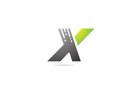 X grey black green letter alphabet design icon for business and company.