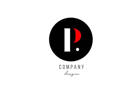P letter alphabet icon logo design in white red with circle for business and company. Suitable for catchy logotype template