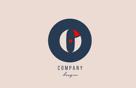 red dot O letter alphabet logo icon design with blue circle for company and business. Suitable for modern logotype template