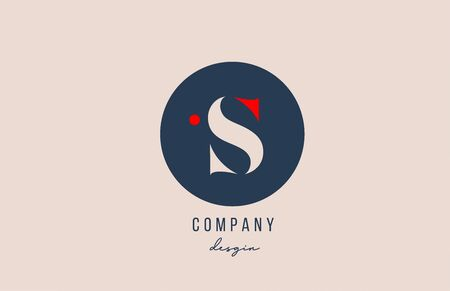 red dot S letter alphabet logo icon design with blue circle for company and business. Suitable for modern logotype template