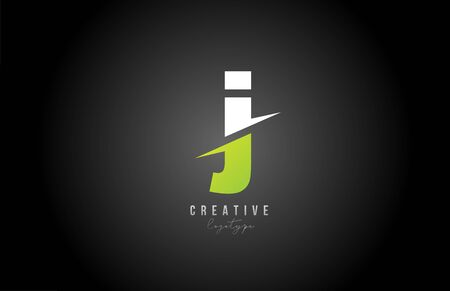 white and green J letter logo alphabet icon design for business and company Logó