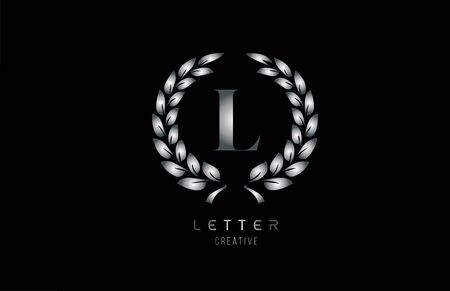 silver grey metal L alphabet letter logo icon with floral design for business and company